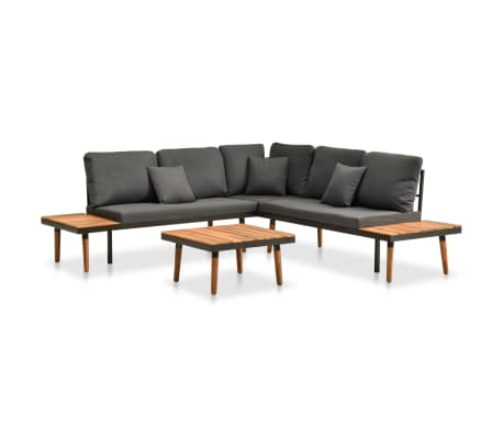 vidaXL 4 Piece Garden Lounge Set with Cushions Solid Acacia Wood