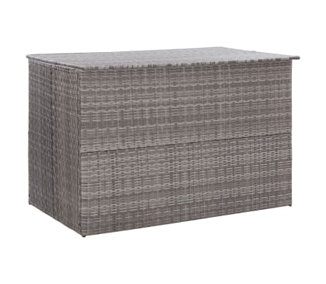 "vidaXL Garden Storage Box Gray 59.1""x39.4""x39.4"" Poly Rattan"
