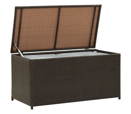 "vidaXL Garden Storage Box Poly Rattan 39.3""x19.6""x19.6"" Brown"