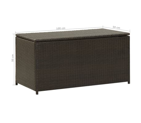 "vidaXL Garden Storage Box Poly Rattan 39.3""x19.6""x19.6"" Brown[9/9]"