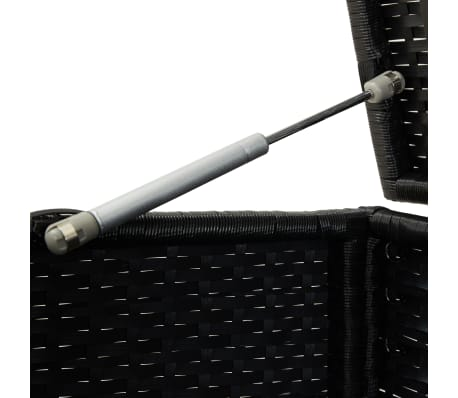 "vidaXL Garden Storage Box Poly Rattan 78.7""x19.6""x23.6"" Black[7/9]"