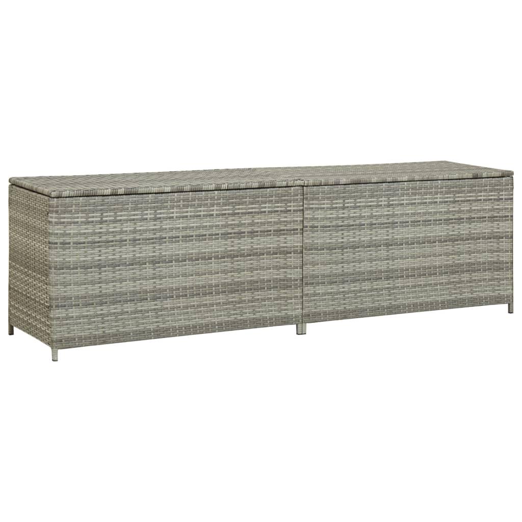 vidaXL Zahradní úložný box polyratan 200 x 50 x 60 cm šedý