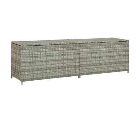 Vidaxl Garden Storage Box Poly Rattan 200x50x60 Cm Grey