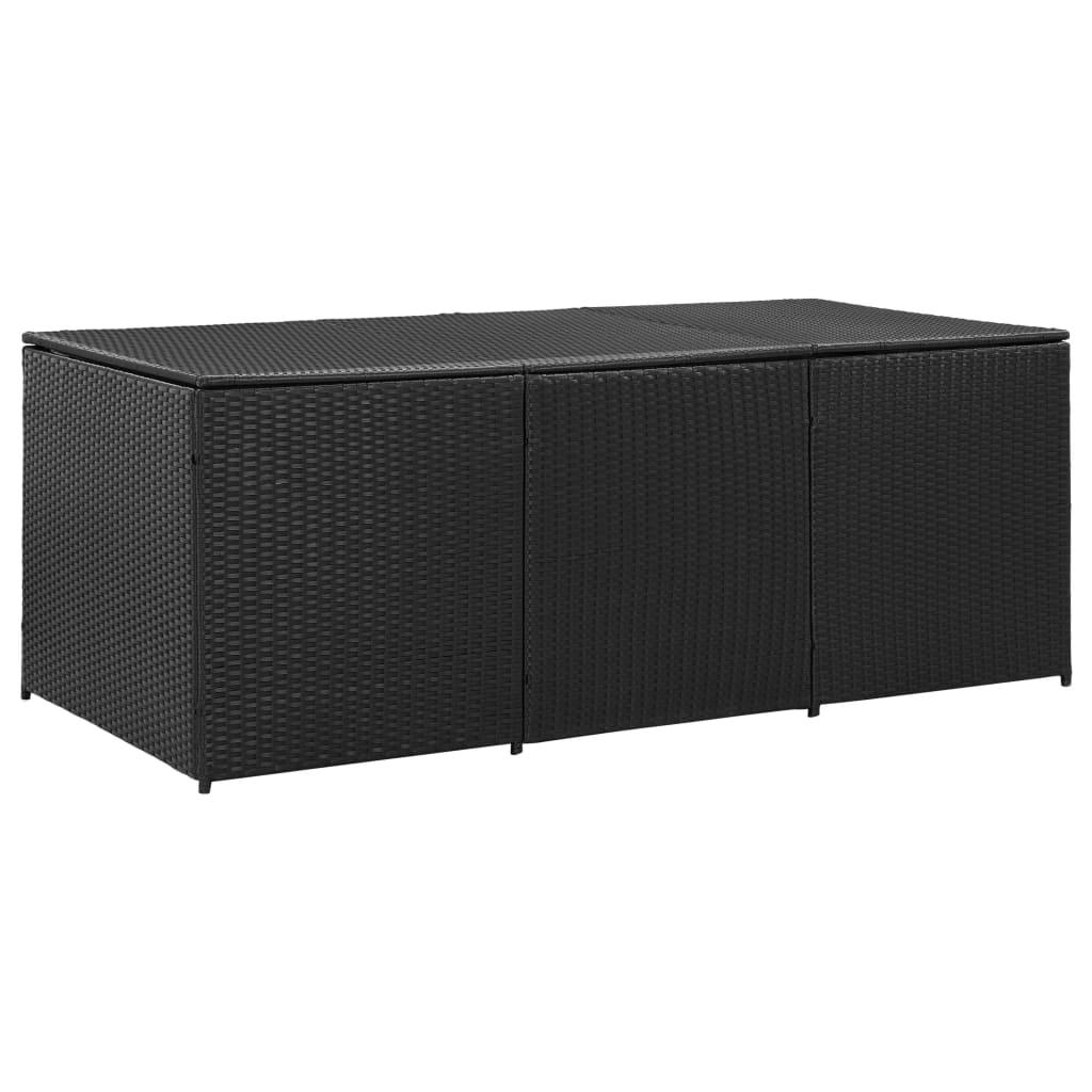 vidaXL Zahradní úložný box polyratan 180 x 90 x 75 cm černý