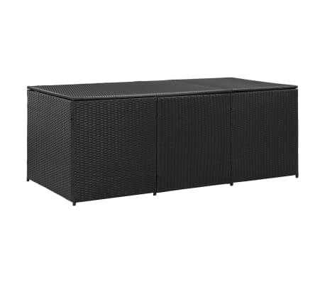 vidaXL Garden Storage Box Poly Rattan 180x90x75 cm Black