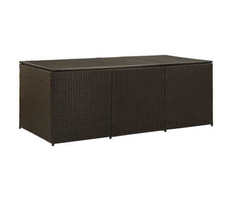 vidaXL Garden Storage Box Poly Rattan 180x90x75 cm Brown