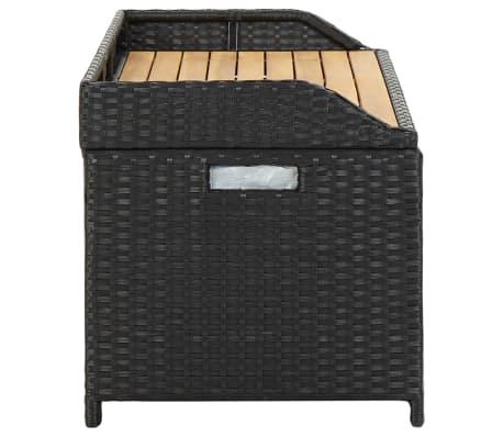 "vidaXL Garden Storage Bench 47.2"" Poly Rattan Black[4/8]"