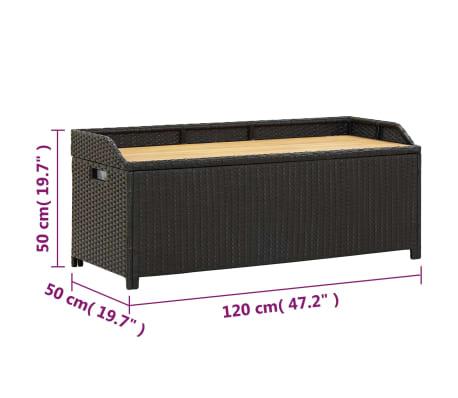 "vidaXL Garden Storage Bench 47.2"" Poly Rattan Black[8/8]"