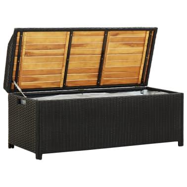 "vidaXL Garden Storage Bench 47.2"" Poly Rattan Black[2/8]"