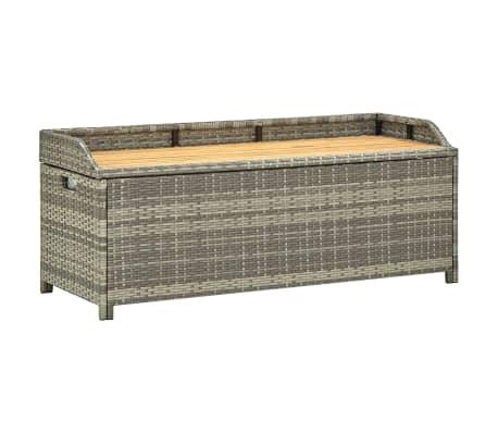 vidaXL Garden Storage Bench 120 cm Poly Rattan Grey