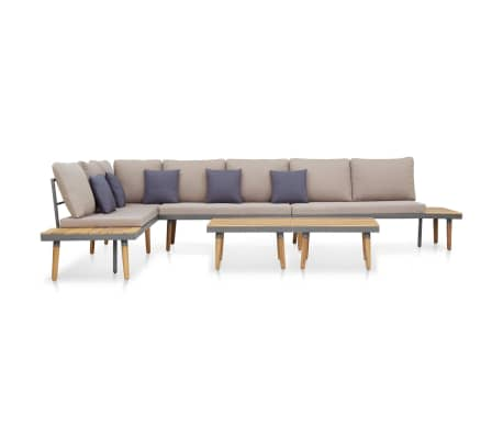 vidaXL 5 Piece Garden Lounge Set with Cushions Solid Acacia Wood Brown