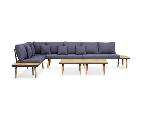 vidaXL 5 Piece Garden Lounge Set with Cushions Solid Acacia Wood Brown