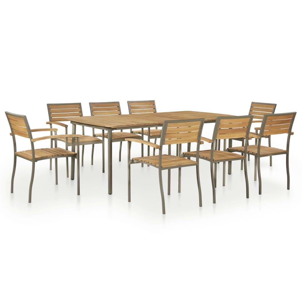 vidaXL Set mobilier de exterior, 9 piese, lemn masiv acacia și oțel poza vidaxl.ro