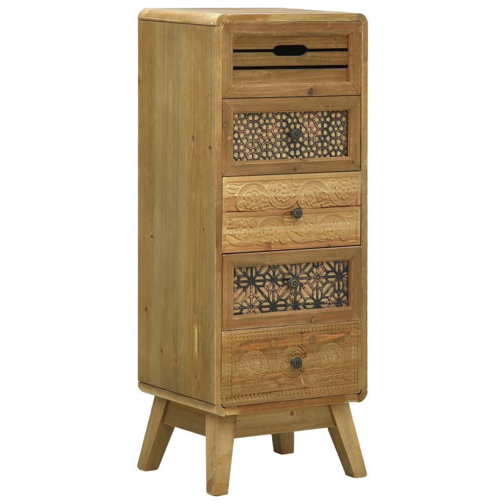 vidaXL Servantă cu 5 sertare, maro, 37 x 30 x 97,5 cm, lemn imagine vidaxl.ro
