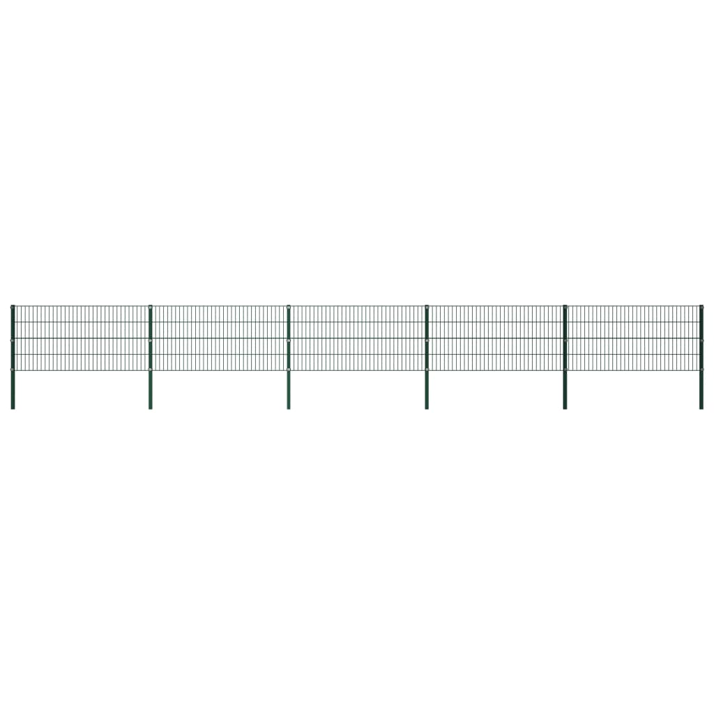 vidaXL Panou de gard cu stâlpi, verde, 8,5 x 0,8 m, fier poza vidaxl.ro