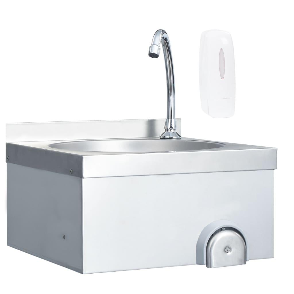 vidaXL Chiuvetă spălat mâini cu robinet dozator săpun, oțel inoxidabil imagine vidaxl.ro