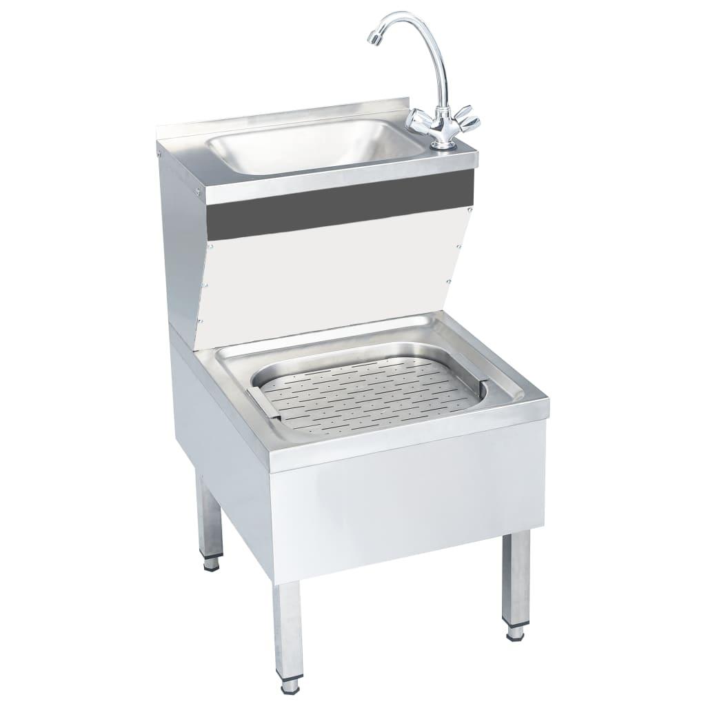 vidaXL Chiuvetă spălat mâini comercială cu robinet, oțel inoxidabil imagine vidaxl.ro