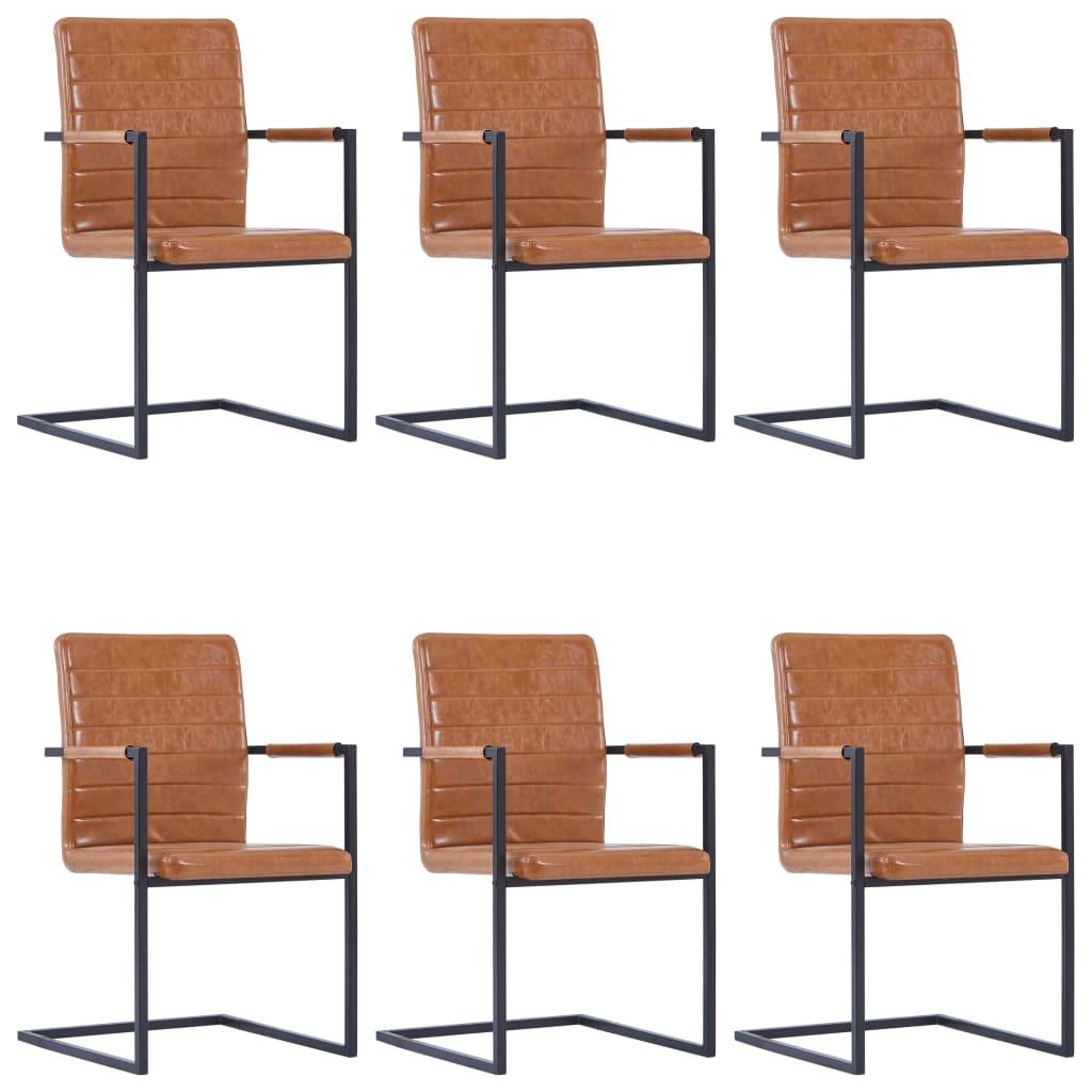 vidaXL Καρέκλες Τραπεζαρίας «Πρόβολος» 6 τεμ. Χρώμα Κονιάκ Συνθ. Δέρμα
