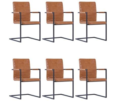 vidaXL Jedálenské stoličky, perová kostra 6 ks, koňakové, umelá koža