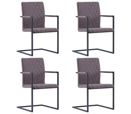 vidaXL Jedálenské stoličky, perová kostra 4 ks, tmavohnedé, umelá koža
