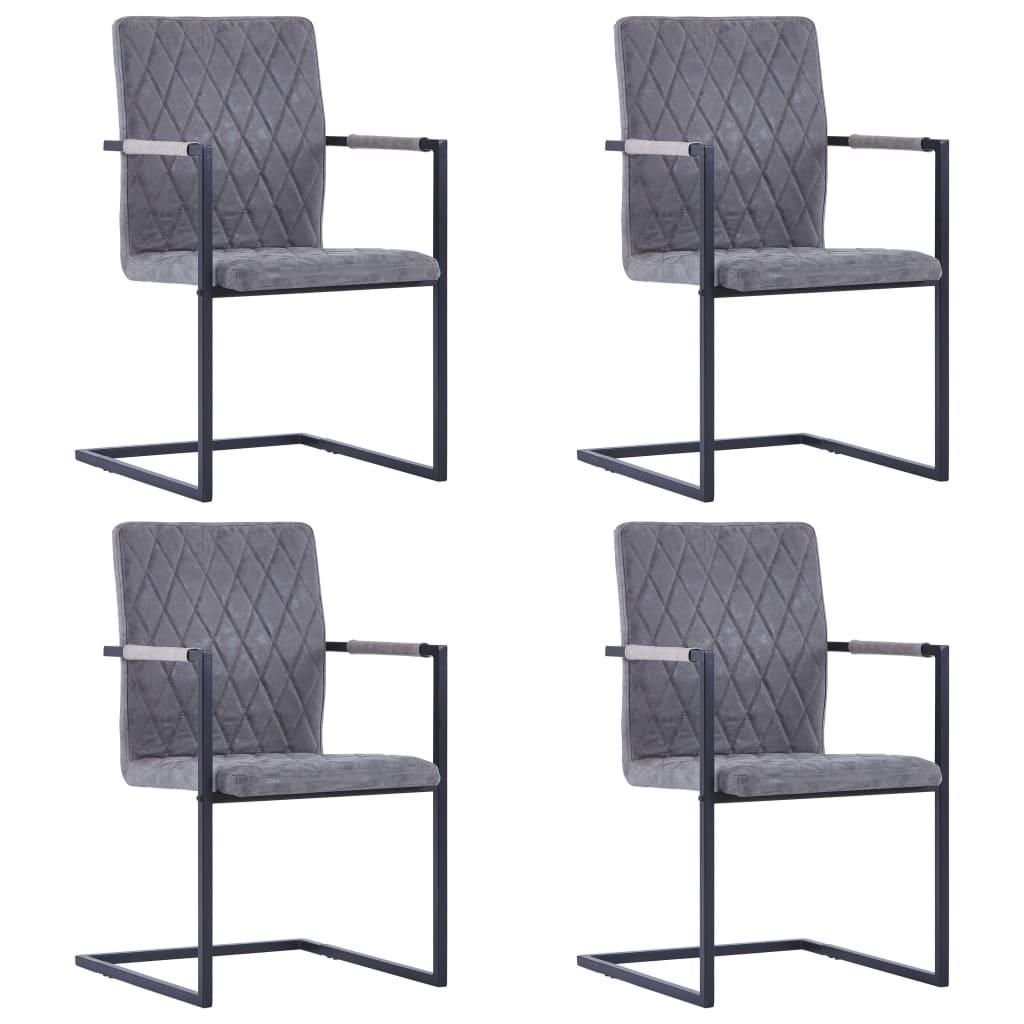 vidaXL Καρέκλες Τραπεζαρίας «Πρόβολος» 4 τεμ. Σκούρο Γκρι Δερματίνη