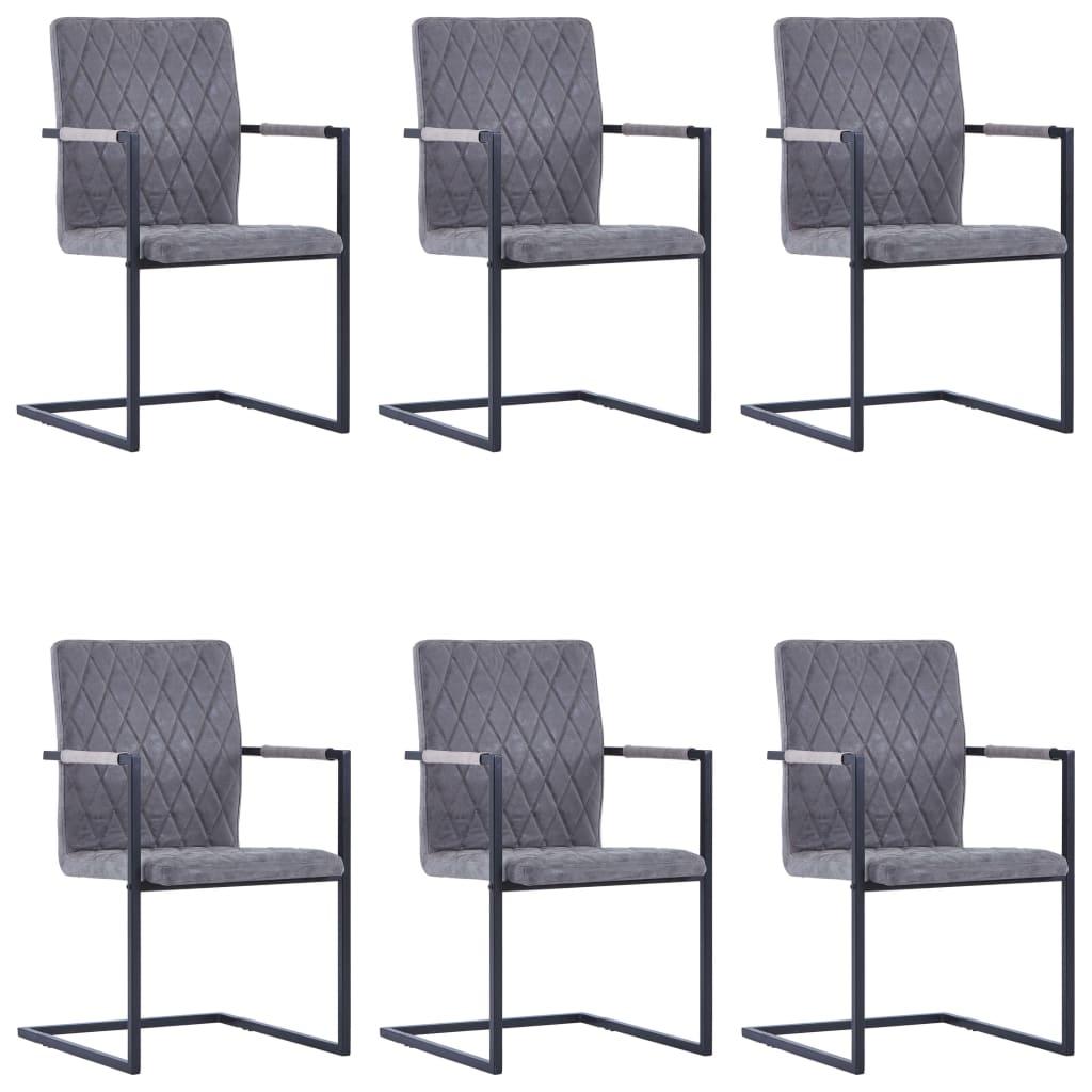 vidaXL Καρέκλες Τραπεζαρίας «Πρόβολος» 6 τεμ. Σκούρο Γκρι Δερματίνη