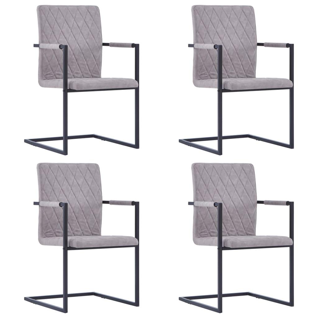 vidaXL Καρέκλες Τραπεζαρίας «Πρόβολος» 4 τεμ. Ανοιχτό Γκρι Δερματίνη