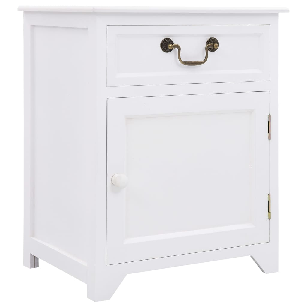 vidaXL Noční stolek bílý 40 x 30 x 50 cm dřevo pavlovnie