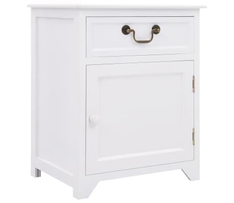 vidaXL Noptieră, alb, 40x30x50 cm, lemn de paulownia