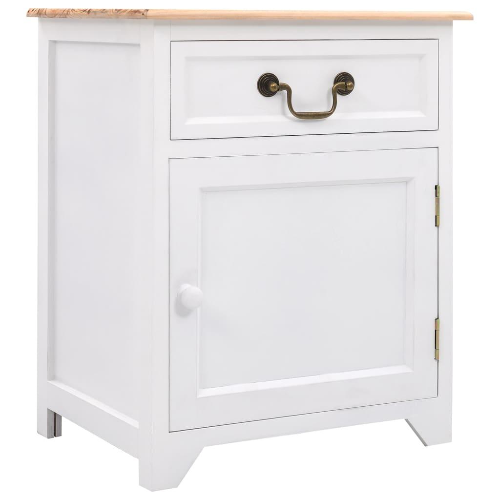 vidaXL Szafka nocna, biało-brązowa, 40 x 30 x 50 cm, drewno paulownia
