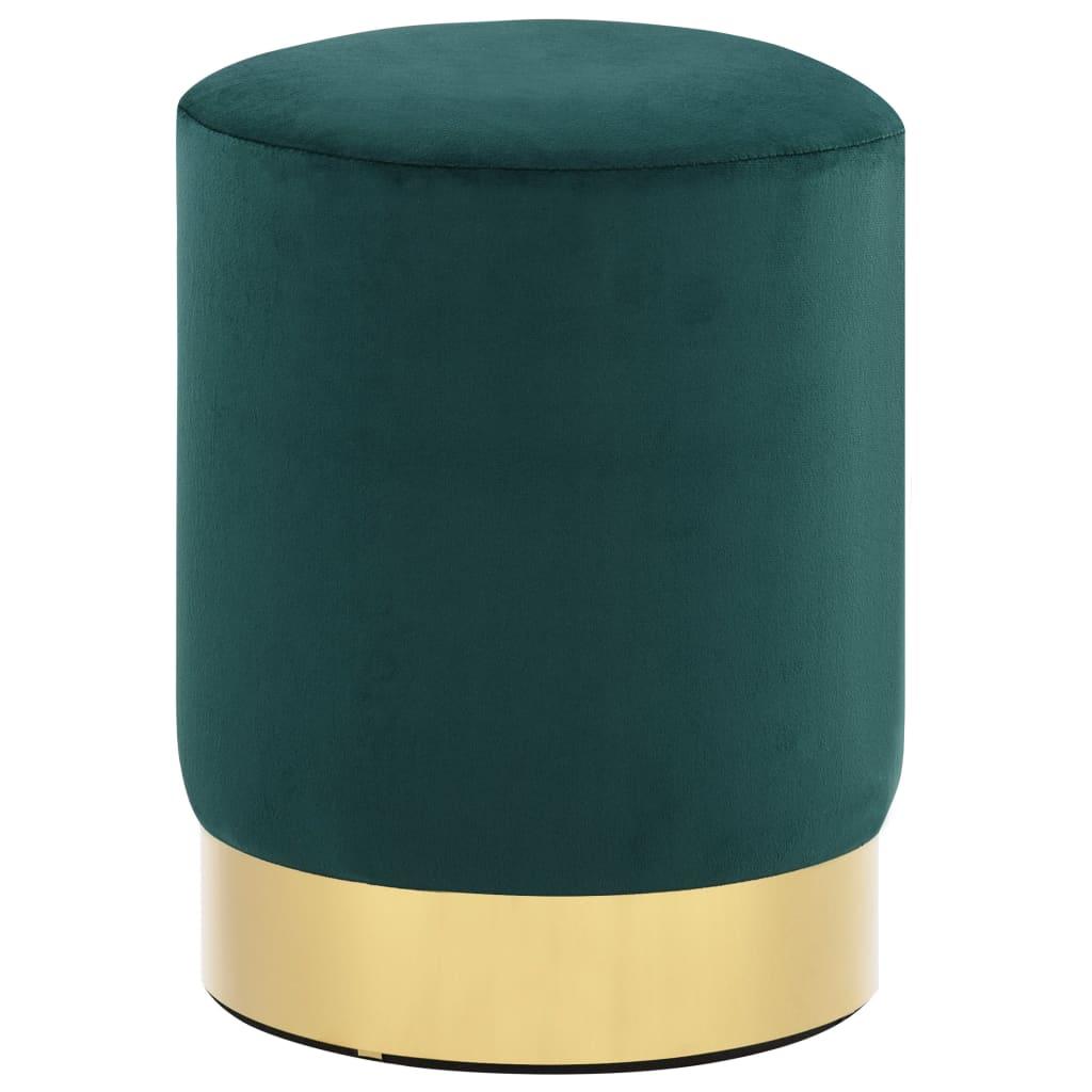vidaXL Taburet, verde închis și auriu, catifea poza vidaxl.ro