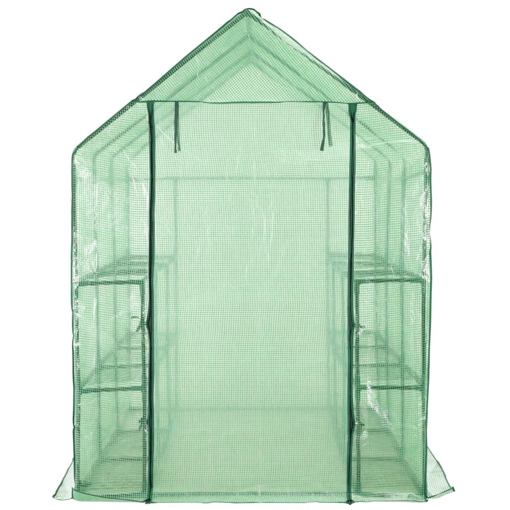 vidaXL Inloopkas met 12 schappen 143x214x196 cm staal