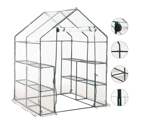 vidaXL Greenhouse with 8 Shelves 143x143x195 cm