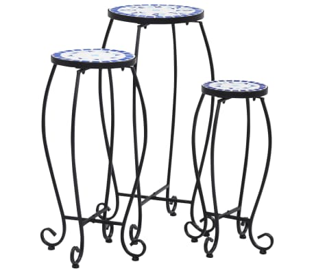 vidaXL Mosaic Tables 3 pcs Blue and White Ceramic