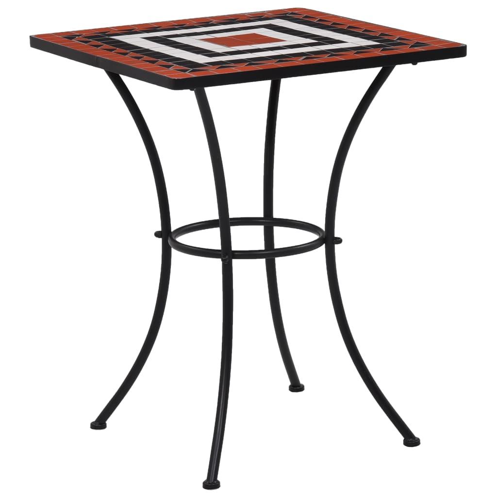 vidaXL Mozaikowy stolik bistro, terakotowo-biały, 60 cm, ceramiczny