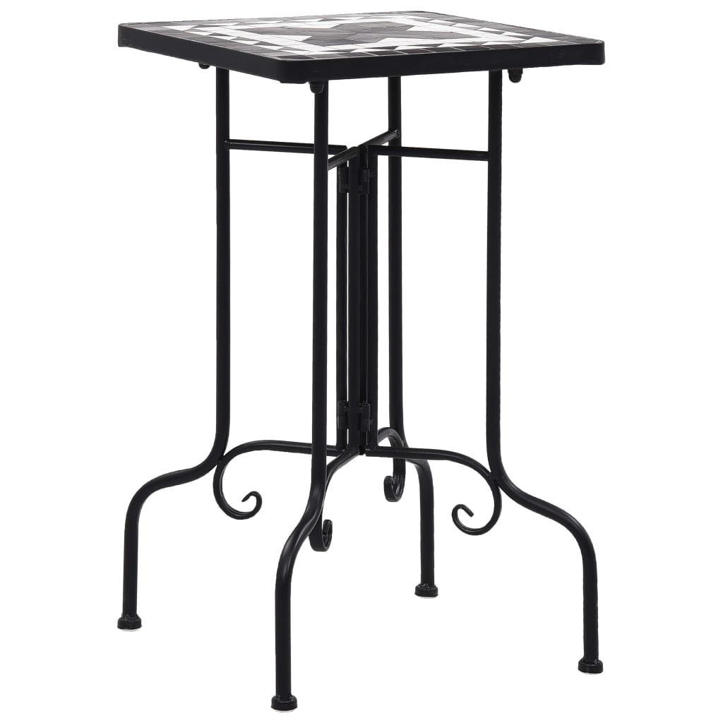 Mozaikový odkládací stolek černobílý keramika