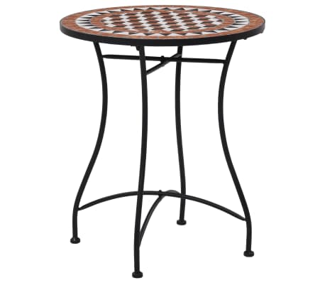 vidaXL Mosaic Bistro Table Brown 60cm Ceramic