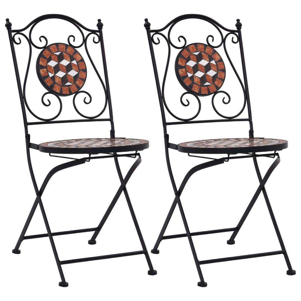 vidaXL Καρέκλες Μπιστρό «Μωσαϊκό» 2 τεμ. Καφέ Κεραμικές