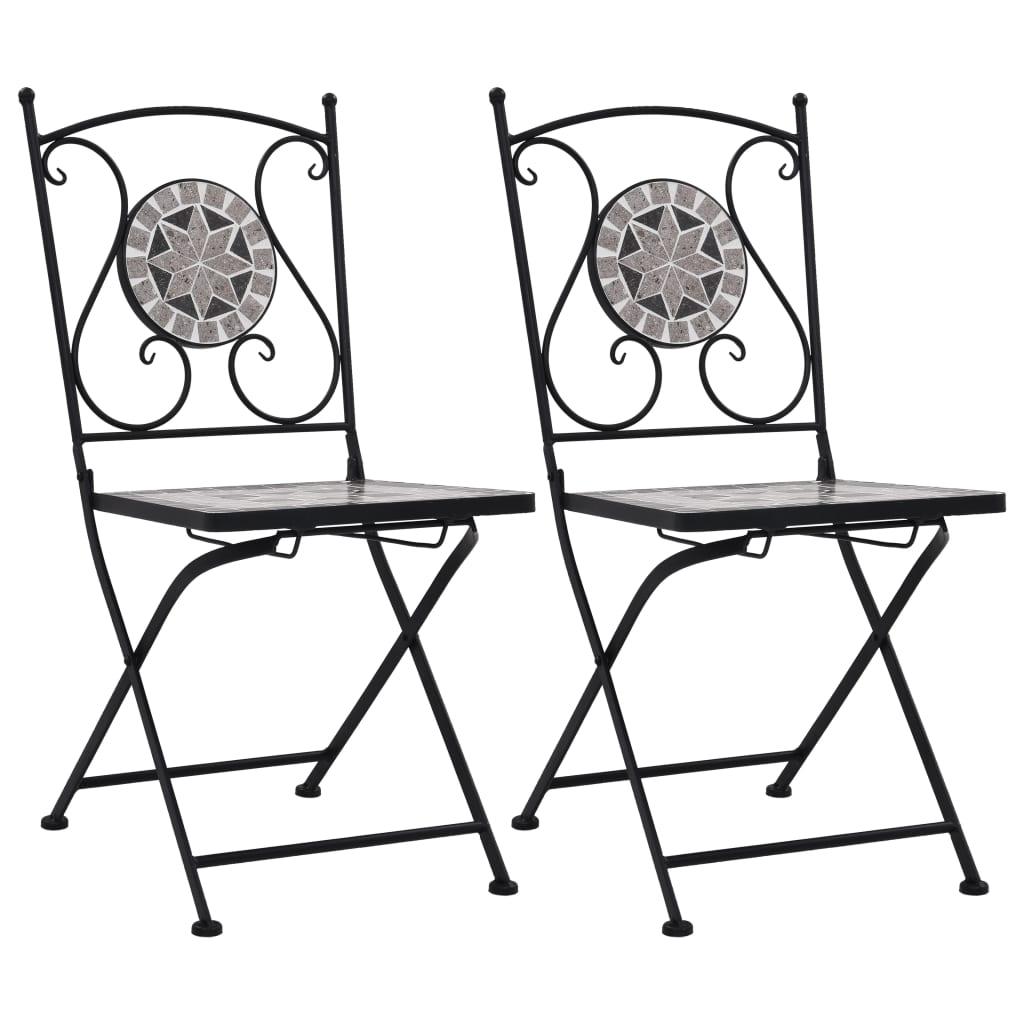vidaXL Mozaikowe krzesła bistro, 2 szt, szare