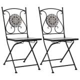 vidaXL Mosaic Bistro Chairs 2 pcs Gray