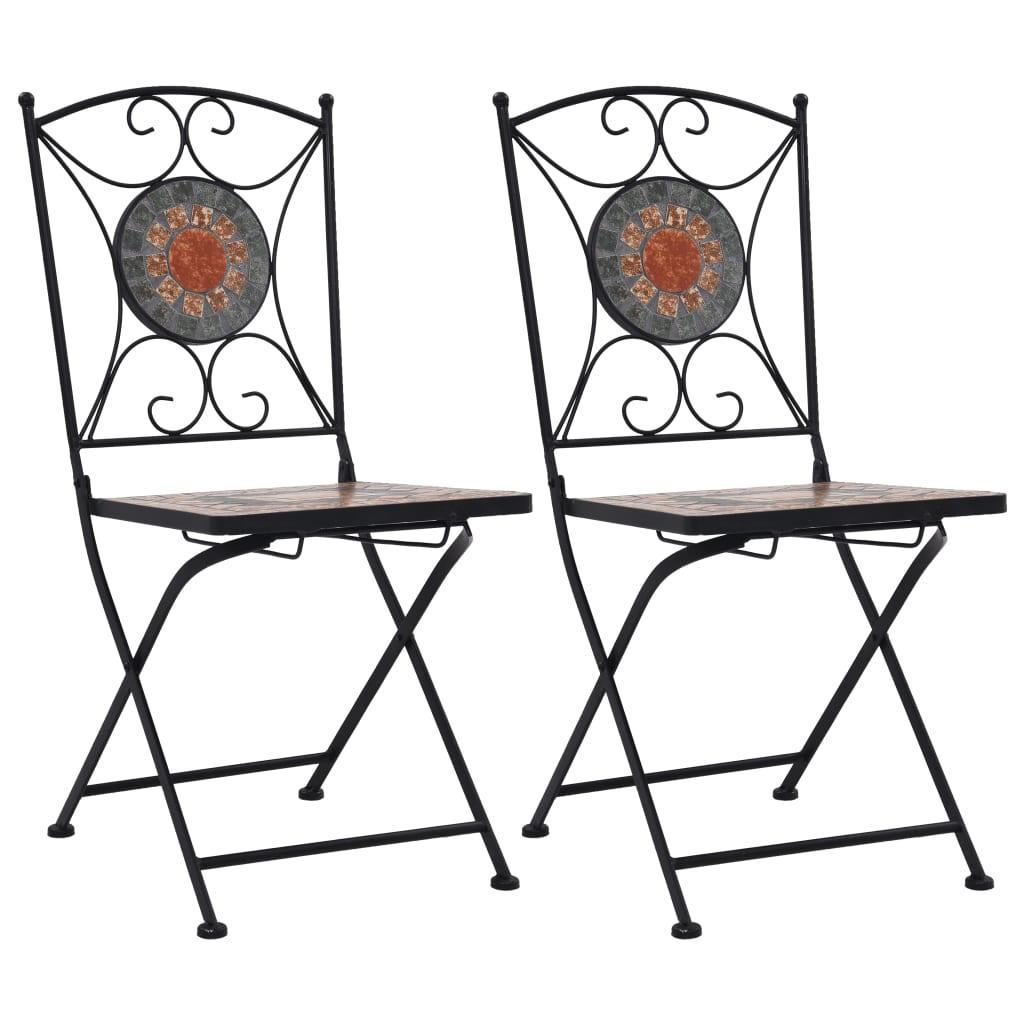 vidaXL Scaune de bistro cu mozaic, 2 buc., portocaliu/gri poza vidaxl.ro