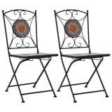 vidaXL Mosaic Bistro Chairs 2 pcs Orange/Grey