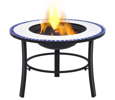 "vidaXL Mosaic Fire Pit Blue and White 26.8"" Ceramic[2/9]"