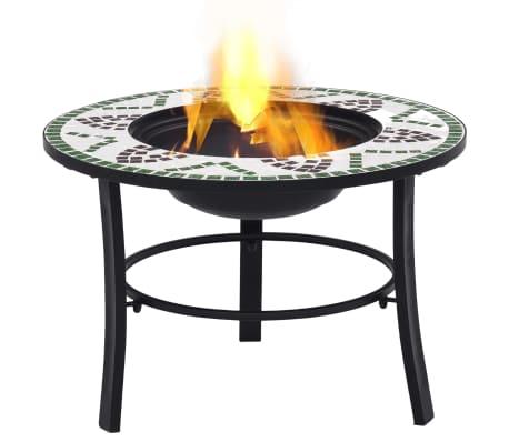 """vidaXL Mosaic Fire Pit Green 26.8"""" Ceramic[2/9]"""