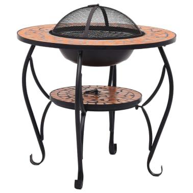 "vidaXL Mosaic Fire Pit Table Terracotta 26.8"" Ceramic[2/9]"
