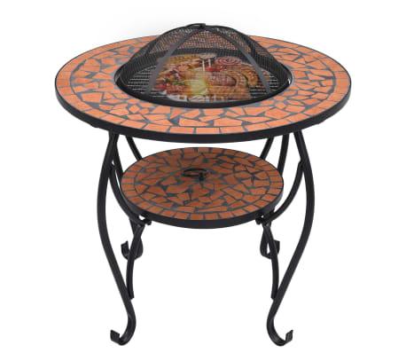 "vidaXL Mosaic Fire Pit Table Terracotta 26.8"" Ceramic[3/9]"
