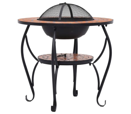 "vidaXL Mosaic Fire Pit Table Terracotta 26.8"" Ceramic[6/9]"