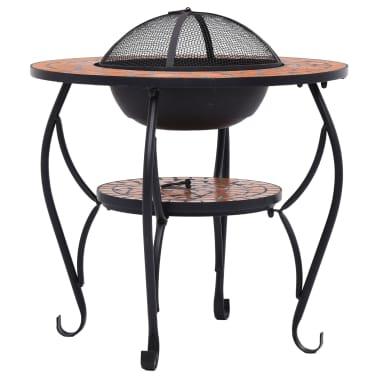 "vidaXL Mosaic Fire Pit Table Terracotta 26.8"" Ceramic[5/9]"