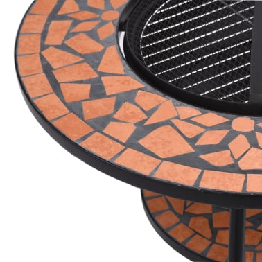 "vidaXL Mosaic Fire Pit Table Terracotta 26.8"" Ceramic[7/9]"