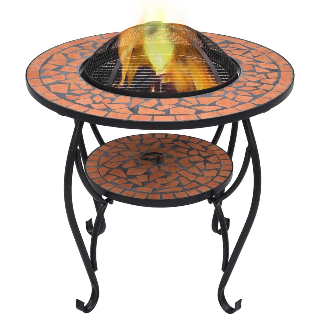 vidaXL Masă cu vatră de foc, mozaic, cărămiziu, 68 cm, ceramică poza 2021 vidaXL